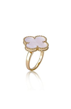 Золотое кольцо van cleef из желтого золота 585-й пробы с перламутром ( 0127 1)