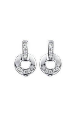 Серебряные серьги кружок с фианитами из родированного серебра 925-й пробы с куб. циркониями ( 10 )