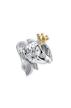 Серебряный шарм бусина золотая рыбка small из родированного серебра 925-й пробы (31 27 )