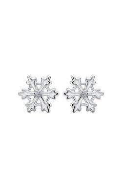Серебряные серьги гвоздики снежинки из родированного серебра 925-й пробы с куб. циркониями ( )