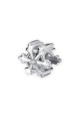 Бусина подвеска снежинка серебро small из родированного серебра 925-й пробы с куб. циркониями (32 )