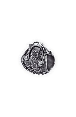 Серебряний шарм бусина цветочная сумочка из родированного серебра 925-й пробы (31 93 )