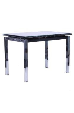 Стол обеденный раскладной Глория хром/Стекло черный с узором - AMF - 258119