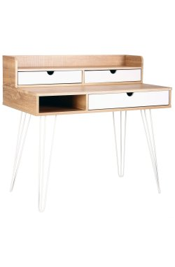Компьютерный стол Franko белый/орех светлый+белый - AMF - 521168
