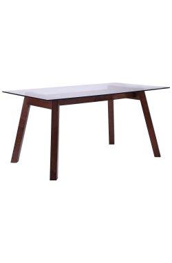 Стол обеденный Брайтон 1500*900*750 орех светлый /cтекло прозрачное - AMF - 516741