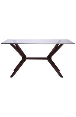 Стол обеденный Темза 1500*900*750 орех темный /cтекло прозрачное - AMF - 516735