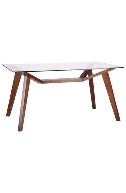 Стол обеденный Мертон орех светлый/стекло прозрачное - AMF - 521240
