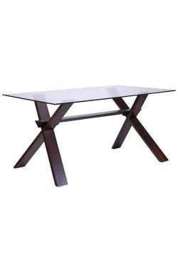 Стол обеденный Лаура 1500*900*750 орех темный /cтекло прозрачное - AMF - 516737