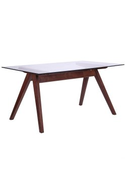 Стол обеденный Эльба 1500*900*750 орех светлый /cтекло прозрачное - AMF - 516739