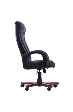 Кресло Роял Люкс орех Кожа Сплит черная - AMF - 030106
