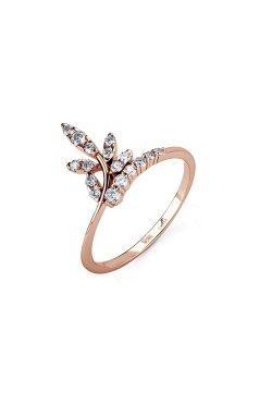 Золотое кольцо весенняя мелодия из красного золота 585-й пробы с куб. циркониями (12 693)