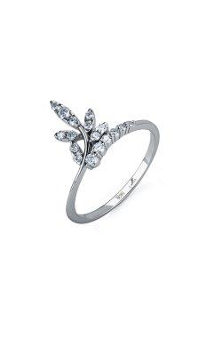 Кольцо из белого золота весенняя мелодия из белого золота 585-й пробы с бриллиантом (15 694)