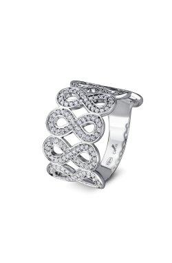 Широкое кольцо бесконечная любовь из родированного серебра 925-й пробы с куб. циркониями (12 94 )
