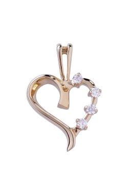 Золотой кулон нежное сердце с фианитами из красного золота 585-й пробы с куб. циркониями (3 5483)