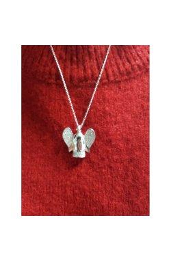 Кулон ангел хранитель из серебра из родированного серебра 925-й пробы с куб. циркониями (32 31 )