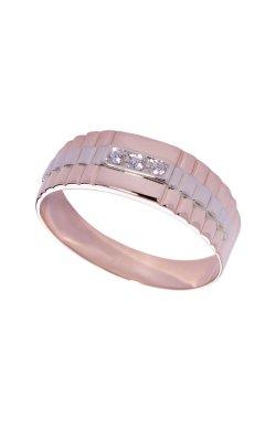 Мужское золотое кольцо из белого золота 585-й пробы из красного золота 585-й пробы с куб. циркониями (1 63)