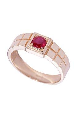 Мужской перстень с гранатом из красного золота 585-й пробы с гранатом (140 33)
