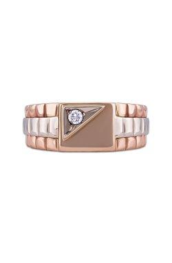 Золотой мужской перстень из белого золота 585-й пробы из красного золота 585-й пробы с куб. циркониями (1 73)
