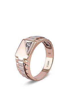 Мужской перстень комбинированное золото из белого золота 585-й пробы из красного золота 585-й пробы с куб. циркониями (1 93)