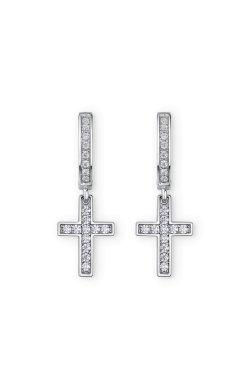 Серебряные серьги с крестиком из родированного серебра 925-й пробы с куб. циркониями корундом (2 3512 2)
