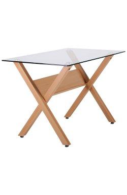 Стол обеденный Maple бук/стекло прозрачное - AMF - 520661
