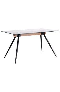 Стол обеденный Корлеоне черный/стекло прозрачное - AMF - 521457