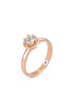 Золотое кольцо с фианитом из красного золота 585-й пробы с куб. циркониями (1 0583)