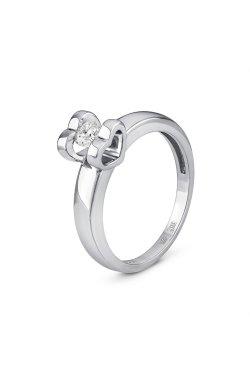 Золотое кольцо сердце любви из белого золота 585-й пробы с куб. циркониями (1 0604)
