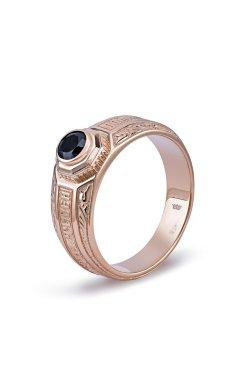 Золотой мужской перстень оберег из красного золота 585-й пробы с куб. циркониями (1 53)