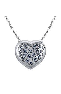 Колье пламенное сердце белое золото 40-43-46 из белого золота 585-й пробы с бриллиантом (32923129)