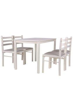 Комплект обеденный Брауни (стол+4 стула) белый шоколад/латте - AMF - 544609