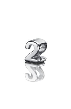 Шарм цифра два серебро small из родированного серебра 925-й пробы (31 04 )