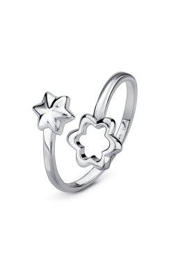Серебряное открытое кольцо хрупкая звезда из родированного серебра 925-й пробы (11 44 )