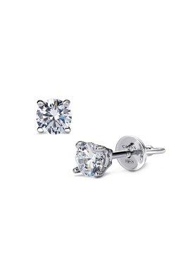 Серьги пусеты с бриллиантами серебро из родированного серебра 925-й пробы с бриллиантом (2511592 1)