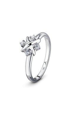 Кольцо лесная фея из серебра из родированного серебра 925-й пробы с куб. циркониями (12 00 )