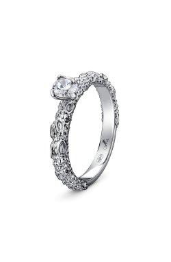 Рельефное кольцо с фианитом эллада серебро из родированного серебра 925-й пробы с куб. циркониями (12 )