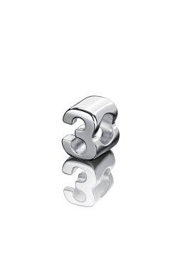 Шарм цифра три серебро small из родированного серебра 925-й пробы (31 05 )