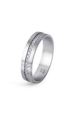 Обручальное кольцо с фианитами белое золото из белого золота 585-й пробы с куб. циркониями (1 74)