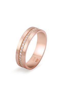 Золотое обручальное кольцо с фианитами из красного золота 585-й пробы с куб. циркониями (1 73)
