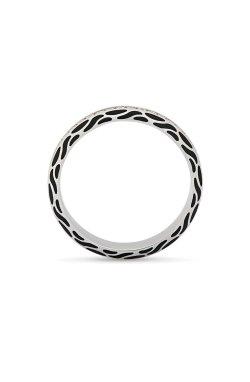 Обручальное кольцо с черной эмалью и камнями из белого золота 585-й пробы с куб. циркониями эмалью (1 078401)