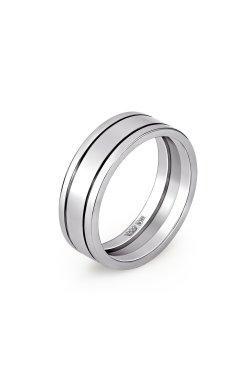 Золотое широкое обручальное кольцо белое золото из белого золота 585-й пробы (110 14)