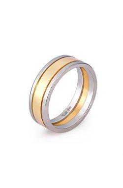 Золотое широкое обручальное кольцо желтое и белое золото из желтого золота 585-й пробы из белого золота 585-й пробы (110 12)