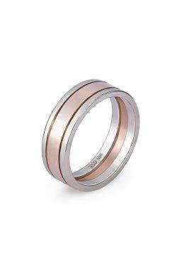 Золотое широкое обручальное кольцо минимализм из белого золота 585-й пробы из красного золота 585-й пробы (110 13)