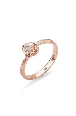 Золотое кольцо сфера из красного золота 585-й пробы с куб. циркониями (1 0593)