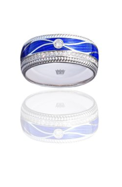 Свадебное кольцо с синей эмалью и бриллиантами белое золото из белого золота 585-й пробы с бриллиантом эмалью (1079002)