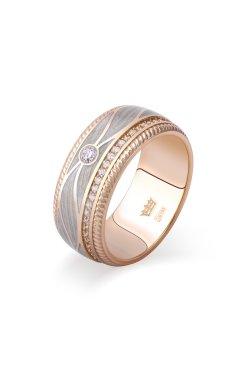 Свадебное кольцо с перламутровой эмалью желтое золото из желтого золота 585-й пробы с куб. циркониями (107900103)