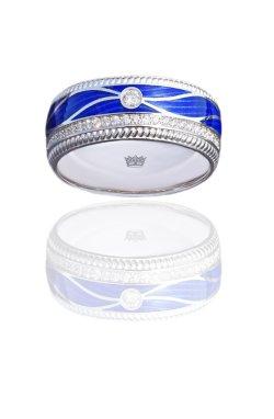 Свадебное кольцо с синей эмалью белое золото из белого золота 585-й пробы с куб. циркониями эмалью (1079009)