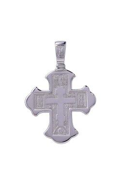 Мужской крест спаси и сохрани из белого золота 585-й пробы (310 04)