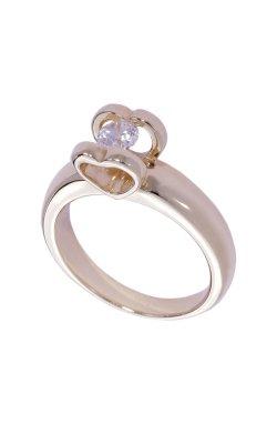 Золотое кольцо сердце любви из красного золота 585-й пробы с куб. циркониями (1 0603)