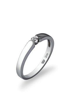 Золотое кольцо помолвочное из белого золота 585-й пробы с куб. циркониями (1 3094)